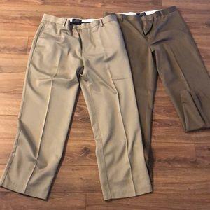 2 straight leg tan pants